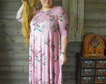 Vintage Curve Pink Midi Floral Dress