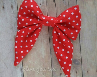 SALE! 30% OFF**Sailor Hair bow, Toddler hair bow, Baby hair bow, Teen hair bow, Girl Hair bow- red and white dots