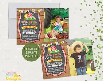 Farm Birthday Invitation, Barnyard Bash, Photo Invitation, Farn Birthday, Digital File or Prints, Farm Birthday, Party Invitation
