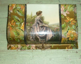 Antique Vanity Dresser Box - Celluloid - Portrait of Lady - Victorian Era - Silk Lining - Floral Pattern