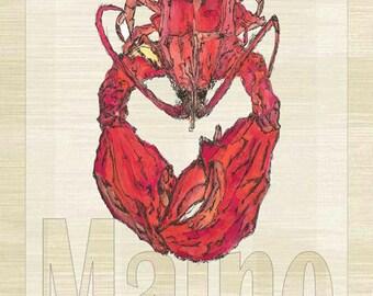 Maine Lobster Metal Sign, Coastal Décor, Beach, Tropical    JP1014
