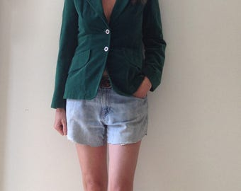 vintage kelly green VELVET blazer suit peice sweet little jacket fitted blazer