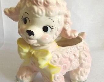 Vintage Pink Ceramic Lamb Planter w Blue Spaghetti Trim- 1961 Baby Nursery Decor - Easter Decor- Mid Century Figurine w Yellow Ribbon