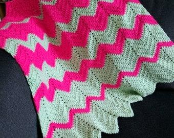 Chevron Pink & Mint Baby Blanket