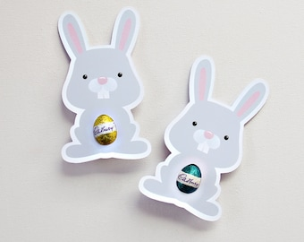 12 Bunny Easter Egg Holders. Easter cards. classroom or workplace gift.