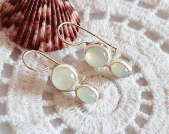 Chalcedony earrings sterling silver jewelry blue chalcedony silver earrings gift for her gemstone earrings elegant jewelry dangle earrings