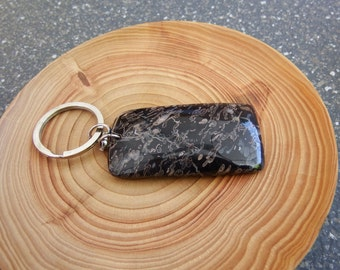 Keyring. Gemstone keyring. Black plum-blossom Jasper. Stainless steel keyring and chain. Unique. Large natural stone.