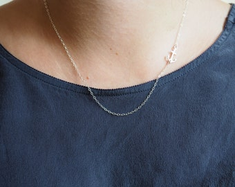 Sterling Silver Offside Anchor Necklace, Sideways Anchor Necklace, Sterling Silver Necklace