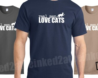 Real Men Love Cats Mens Tshirt gift funny humor cat shirts his