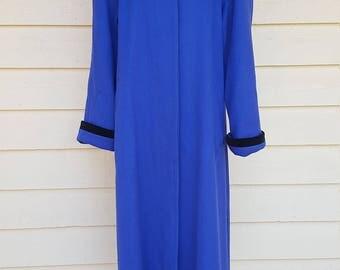 Vintage 1980's Blue Wool Black Velvet Maxi Coat