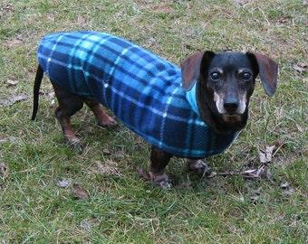 Dachshund Jacket~Reversible Fleece Dog Jacket~Turquoise Blue & Navy Blue Plaid~Double Fleece Coat~Dachshund Clothes~Fleece Dog Jacket~