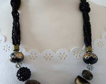 Black Necklace, Statement Necklace, Beaded Necklace, Vintage Necklace, Black Jewelry, Vintage Jewelry, Black Jewellery, Vintage Jewellery