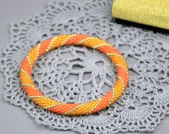 Orange bracelet Roll bracelet Stretch seed bead bracelet Beadwork jewelry Valentine gift for her womens gift Birthday present boho jewelry