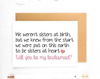 Cute bridesmaid Card, Sister Bridesmaid Card, Bridesmaid Proposal, Be My MOH, Be My bridesmaid, Be My maid of honor, Proposal Cards