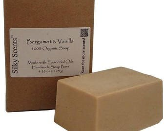 Bergamot & Vanilla Soap Bar - Made with Organic Ingredients and Pure Essential Oils