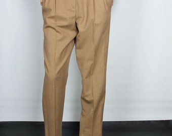 """Camel pleated high waist pants / S / 28"""" waist / high rise vintage 90s tapered relaxed fit wool Land's End light brown tan trousers"""