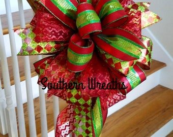 Red and Green Harlequin Bow/Christmas Tree Bow/Christmas Bow/Deluxe Whimsical Christmas Bow Decoration