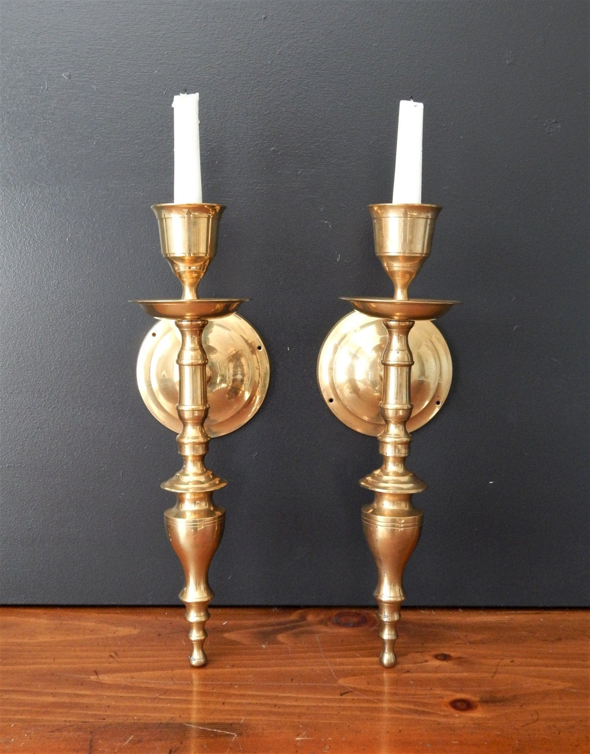 Large Wall Sconces With Candles : Large vintage brass candle sconces/Candle by NashvilleKindofLife
