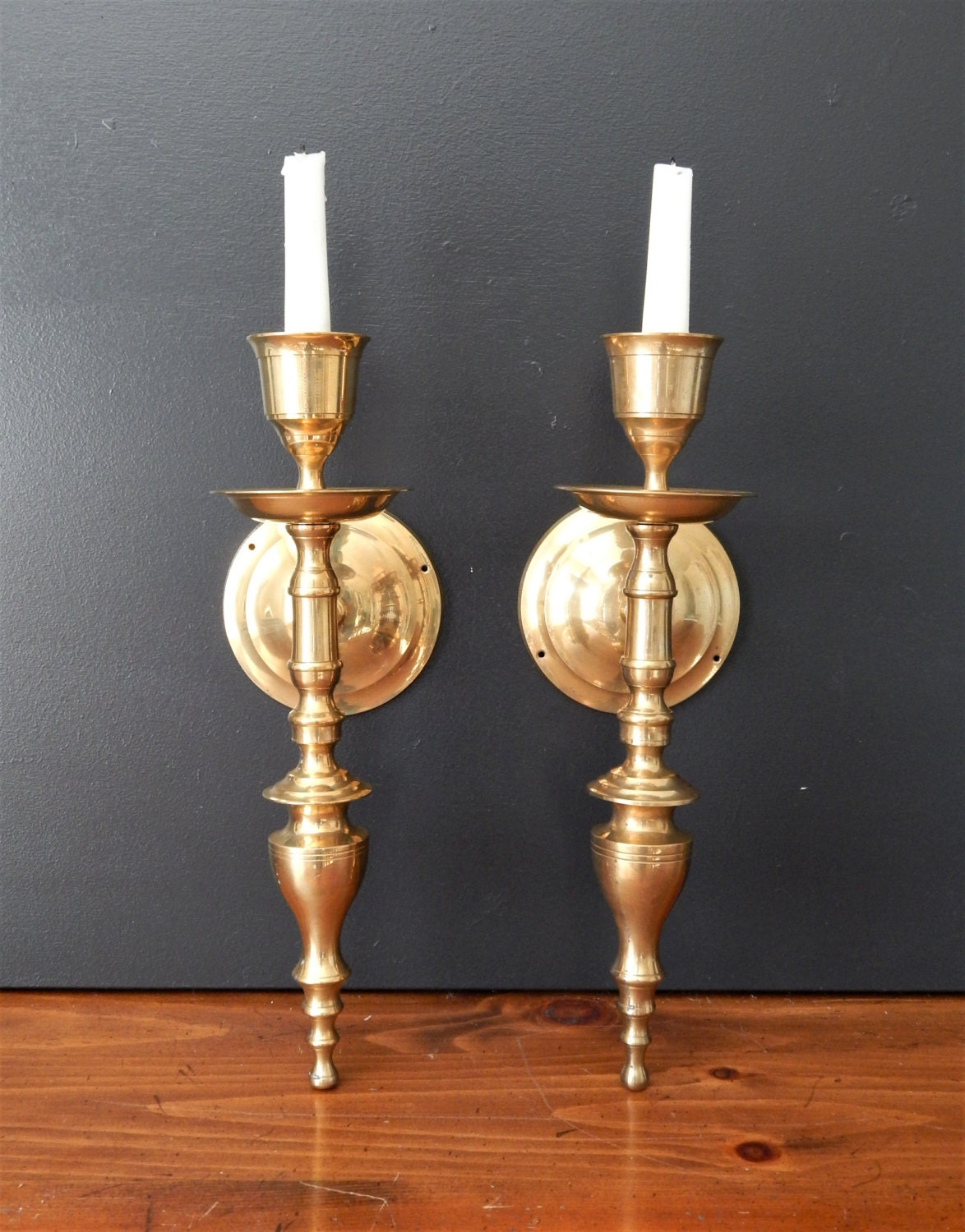 Wall Sconces Candles : Large vintage brass candle sconces/Candle by NashvilleKindofLife