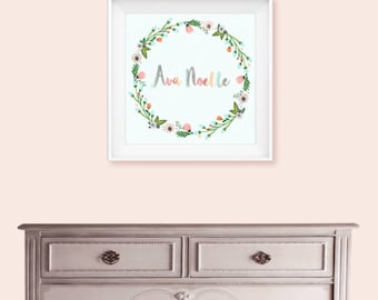 Name Art for Girls nursery or bedroom, floral watercolor wreath wall decor