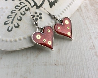 Red Earrings. Heart Earrings. Silver Earrings. Steampunk Earrings. Red Wedding. Bridesmaid Gift. Mother of the Bride Gift. Resin Earrings.
