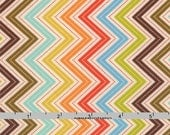 Colorful Chevron Fabric, Moda Wren & Friends 10005 19 Multi, Cream, Orange, Green, Brown, Aqua Chevron Quilt Fabric, Gina Martin, Cotton