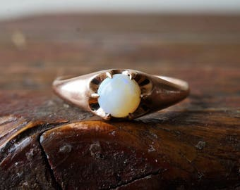 1900s Antique 10K Opal Solitaire Ostby & Barton Ring in Rose Gold