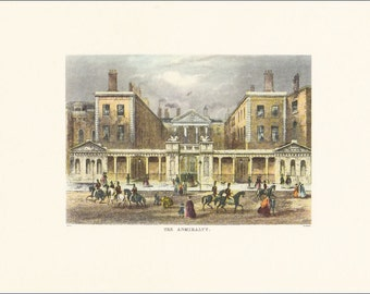 Victorian London The Admiralty Ripley Building vintage print coloured engraving 7 x 9.25 inches