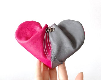 Leather Heart Purse | Neon Pink and Grey Leather Pouch | Leather Coin Purse | Money Pouch | Leather Coin Pouch | Small Leather Purse