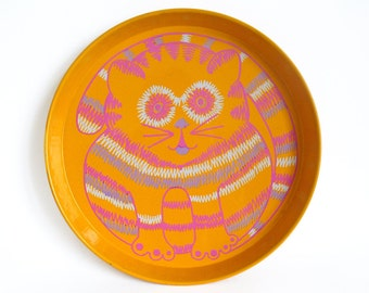 Yellow metal tray with cute stripey fat cat in pink and white
