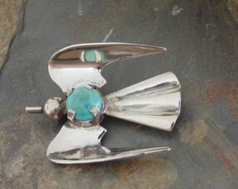 Vintage Mexican Sterling Silver Flying Bird Pin / Brooch with C Clasp  c. 1940