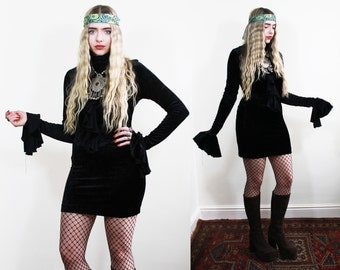 20% OFF 1990's Witchy Velvet Mini Dress with Bell Sleeves