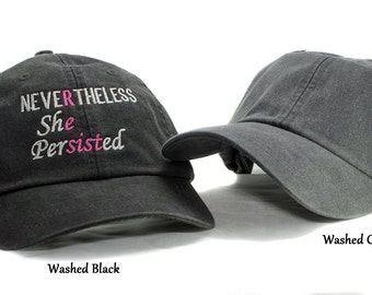 Nevertheless She Persisted Embroidered Cap, Resist hat, she was warned, womans rights, womens march, nevertheless she persisted resist