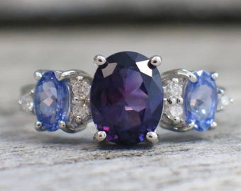Oval Amethyst Tanzanite and Diamond Vintage 14K White Gold Ring