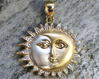 Vintage 14K Two Tone Sun and Moon Celestial Diamond Pendant