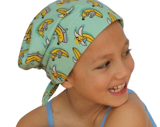 Featured listing image: Mia Children's Flannel Head Cover, Girl's Cancer Headwear, Chemo Scarf, Alopecia Hat, Head Wrap, Cancer Gift for Hair Loss - Going Bananas!