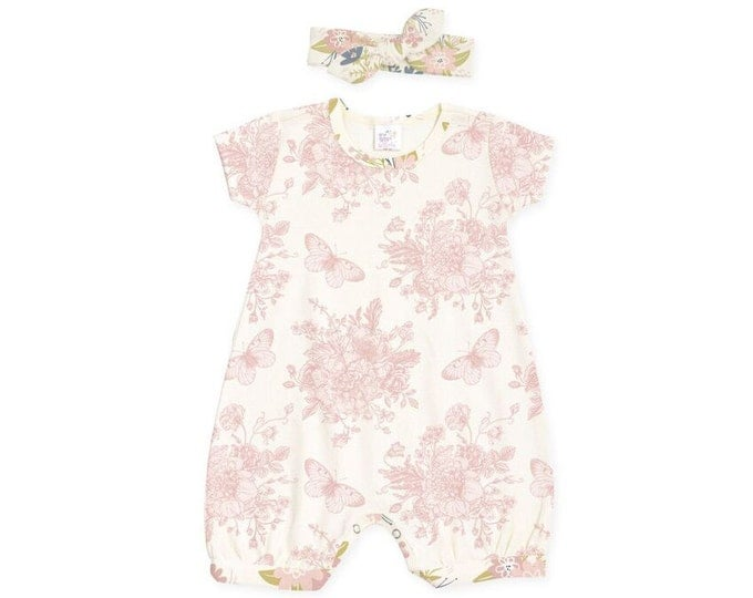 Newborn Girl Outfit, Baby Girl Easter Outfit, Newborn Girl Coming Home Outfit, Baby Bubble Romper, Butterfly Floral Romper, TesaBabe