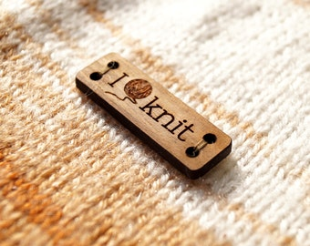 Wooden knitting labels, custom logo branding labels, personalized wooden tags, laser engraved labels, custom made clothing labels, set of 25