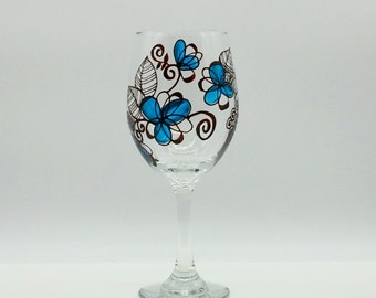 Turquoise Blue Flower Floral Hand Painted Whimsical Wine Glass Brown Stained Glass