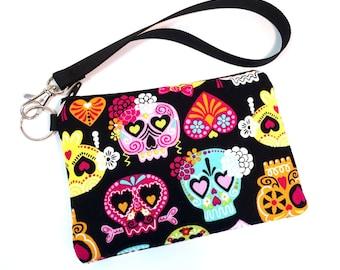 Wristlet, Sugar Skull Bag, Goth Purse, Womens Wallet, Gothic Bag, Clutch Purse, Clutch Wallet, Cell Phone Wallet, iPhone 7 Wallet, iPhone 6