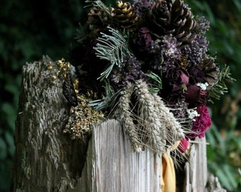 custom dried bridal bouquet, pinecone bouquet, woodland bouquet, sangria bouquet, autumn bridal bouquet, wine bouquet, dried purple bouquet