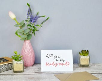 Brush Lettered Style Bridal Party Request Cards // Will you be my bridesmaid? // Will you be my Maid of honour?