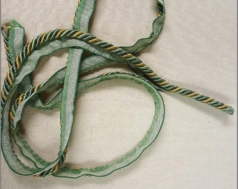 Mingled Green and Gold Braided Cording  Decorative Trim 1012