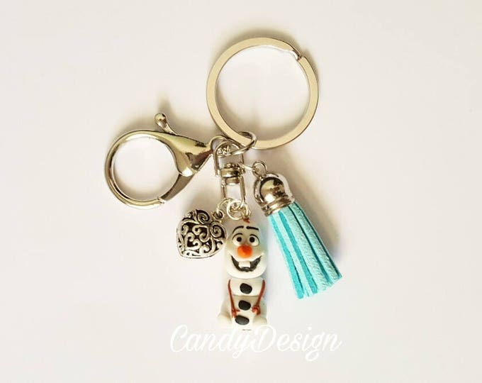 Olaf from Frozen keyring/bagcharm .Frozen jewelry. Disney jewelry. Clay charm.   Kawaii. Disney jewels