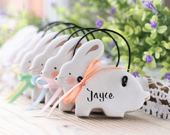 Personalized easter etsy personalised bunny decorations nursery decor new baby gift christeningbaptism favors negle Image collections
