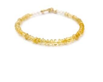 Citrine Stacking Bracelet, Gemstone Bracelet, Delicate Amber Yellow Bracelet, Everyday Quartz Bracelet