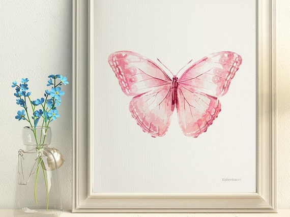 Light pink Butterfly wall decor Pale pink Baby girl art