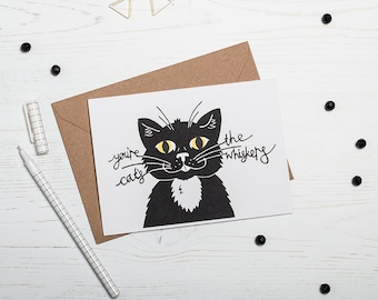 Greetings Card, Cat's Whiskers! Screen Printed Birthday Card, Fun Card, Feline Fan, Mad Cat Lady, Anniversary Card