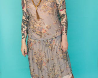 1920s Dress / 20s Floral Chiffon Dress / Sheer Blue Flapper Dress