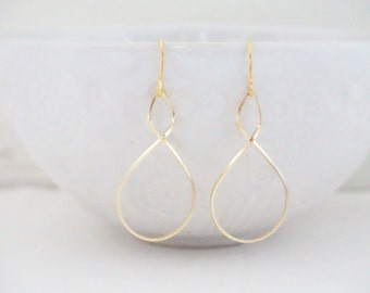 Gold Twist Teardrop Earrings